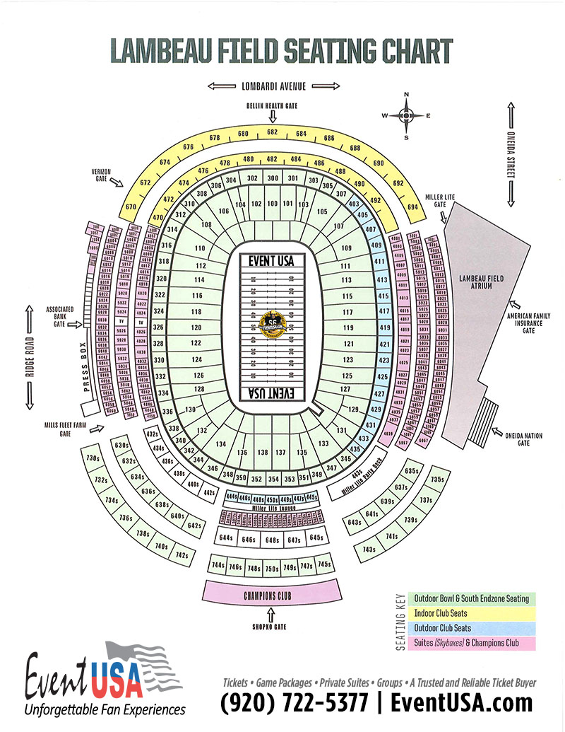 Lambeau Field Seating Map Lambeau Field Seating Chart | Event USA